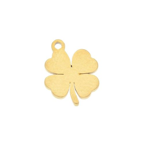Clover / charm / surgical steel / 11x9mm / gold / 2pcs