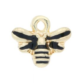 SweetCharm ™ Bumblebee / charm pendant / 10x12x2mm / gold plated / black / 2pcs