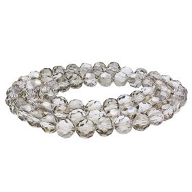 CrystaLove™ crystals / glass  / faceted round / 4mm / grey / transparent / lustered  / 100pcs
