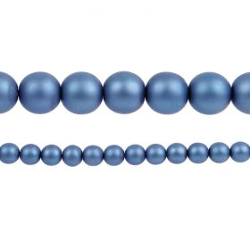 Blue Matte Czech Glass Round Pearl Beads 8mm Pk75
