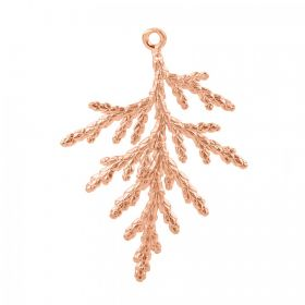 Rose Gold Plated Brass Fancy Leaf Charm 30x34mm Pk1