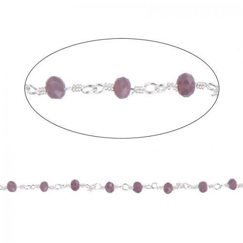 Mauve Glass Silver Plated Rosary Bead Chain Pre Cut 1m