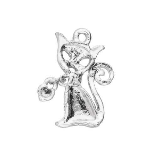 Glamm ™ Cat / charm pendant / with zircons / 20x12x3mm / silver plated / Crystal / 1pcs