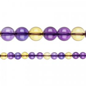 "Natural Ametrine Semi Precious Round Beads 8mm 15"" Strand"