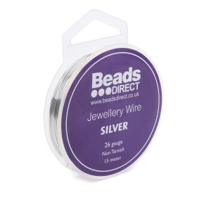Silver Colour Copper Craft Wire 26 Gauge (0.4mm) 15metre Reel