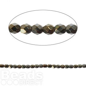 Czech Fire Polished 4mm Iris Brown Pk100