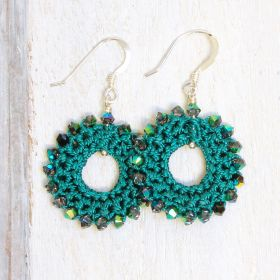 Teal Crochet Earring Kit by Dorothy Wood