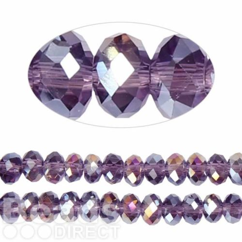 Essential Crystal Faceted 8mm Rondelle Purple Violet AB 72pack