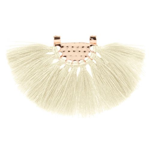Cream Fan Tassel with Gold Plated Hammered Top 45x80mm Pk1