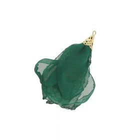 Chiffon flower / with openwork tip / 55mm / Gold Plated / bottle green / 1pc