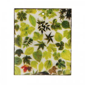 Leaf Print Wooden Charm Rectangle 38x44mm Pk1