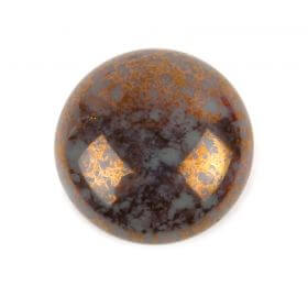 Par Puca Small Cabochon 18mm Opaque Aqua Deep Gold Pk1
