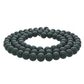 Coated beads / round / 6mm / military green / 130pcs