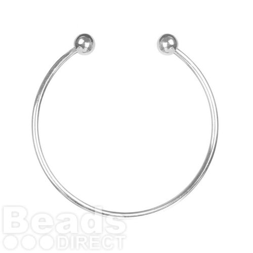 Silver Plated Thick Bangle Base Screwball Ends 65mm Pk1