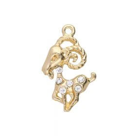 Glamm ™ Goat / charm pendant / with zircons / 20.5x13mm  / gold plated / 1pcs