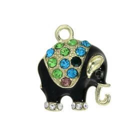 Glamm ™ Elephant / charms pendant / with cubic zirconia / 18x16x5mm / gold plated / black / 1pcs