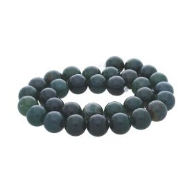 Moss agate / round / dark green / 12mm / 32pcs