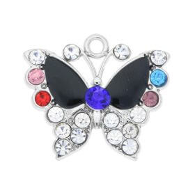 Glamm ™ Butterfly / charm pendant / with zircons / 19x22x3mm / silver plated / multicolour / 1pc