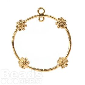 Gold Plated Ring with Flowers 2 Loops at Top 23mm Pk1