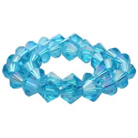 CrystaLove™ crystals / glass / bicone / 6mm / azure / iridescent / 48pcs