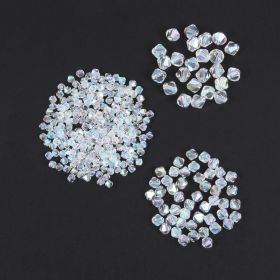 Crystal AB Crystal Glass Bicone Beads Pk325 (4mmx250 6mmx50 8mmx25)