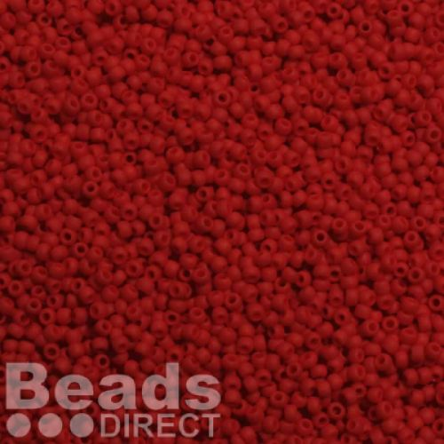 Toho Size 11 Round Seed Beads Opaque-Frosted Cherry 10g