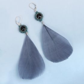Turquoise and Grey Bezel Feather Earring Kit - Makes x1 Pair