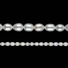 "White Freshwater Pearl Beads Rice 6-7mm 15"" Strand"