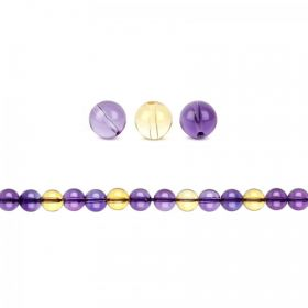 Natural Ametrine Semi Precious Round Beads 6mm Pk20