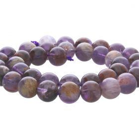 Purple Rutilated Quartz Round Bead 10mm (approx 40 beads)