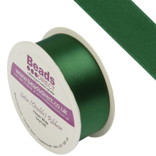 """X"" Green Double Satin Ribbon 19mm Sold on a 5 Metre Reel"