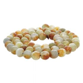 Agate / faceted round / 6mm / white-brown-cream / 60pcs