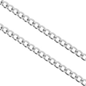 Curb chain / surgical steel / 3x2.5mm / silver / link 0.6mm / 1m
