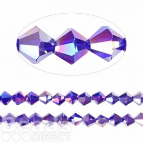 Essential Crystal 8mm Bicones Dark Purple AB Pk35