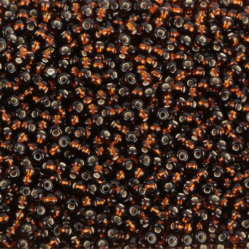 Preciosa Size 8 Round Seed Beads Silver Lined Smoked Topaz 50g