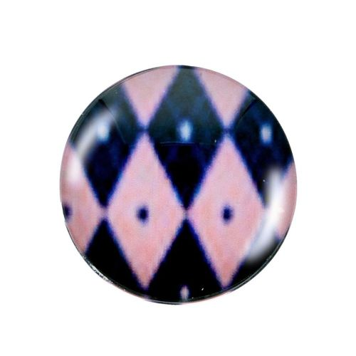 Glass cabochon with graphics K20 PT1247 / pink-navy / 20mm / 2pcs