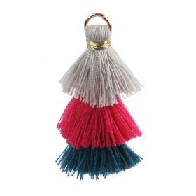 Grey/Fuchsia/Teal Triple Layer Tassel Charm 30mm Pk1