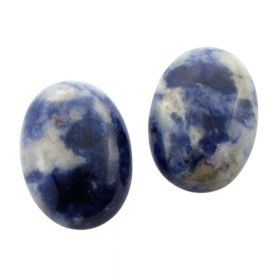 Sodalite cabochon / oval / 13x18mm / white & blue / 1pcs