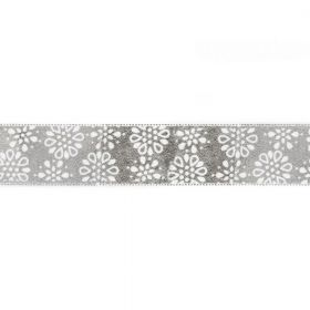 Silver and White Dotty Flower Print Fancy Ribbon 22mm Pre Cut 1m Length