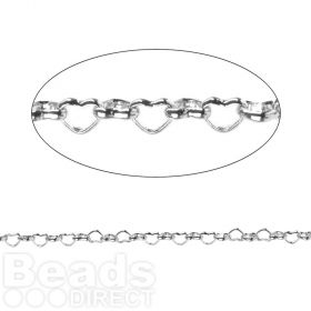 Titanium Plated Small Heart Belcher Chain 4mm 50cm