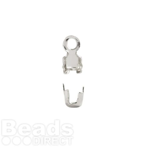 Silver Plated Brass Cupchain Ends for 2mm Cupchain Pk20