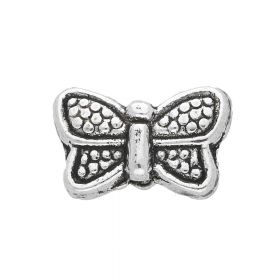Butterfly / spacer / 7x10.5x3.5mm / silver / hole 1mm / 10pcs