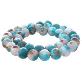 Jade / round / 10mm / blue-white / 40pcs