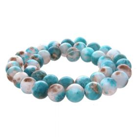 Jade / round / 8mm / white-blue / 50pcs