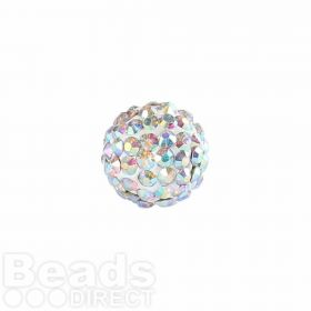 Clear AB Crystal 8mm Premium Shamballa Fashion Round Pk1