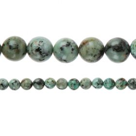 "African Turquoise A Grade Semi Precious Round Beads 10mm 15"" Strand"