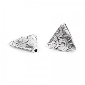 Antique Silver Fancy Triangle Bead 13mm Pk5