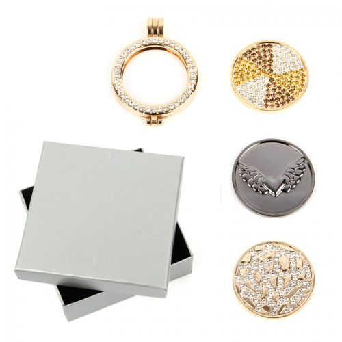 Gold Large Interchangeable Locket with 3 Coins & Box