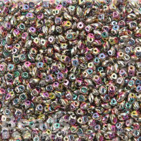 Preciosa Twin Hole Pressed Seed Beads Blue/Pink Rainbow 2.5x5mm 10g