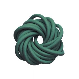 Leather cord / natural / round / 1mm / dark green / 2m